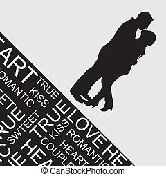couple sihouette - couple silhouette over gray background....