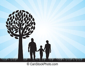 family sihouette - familly under tree over grass, blue...