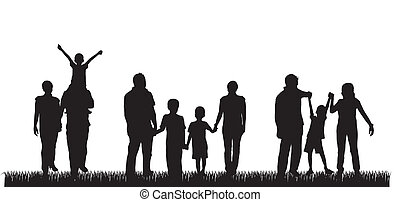 silhouette family over grass background. vector illustration