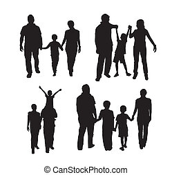 family silhouette isolated ove white background. vector...
