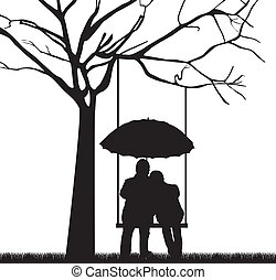 couple under tree with umbrella, white background. vector