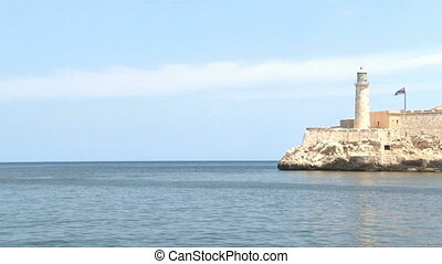 Morro Castle and Cuban Flag 02 - Clasic view of Morro castle...