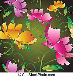 Seamless fancy flowers for textile