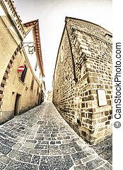 古代, イタリア, 町,  tuscan, 建築, 小さい