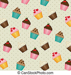 cup cakes pattern, vintage style vector illustration