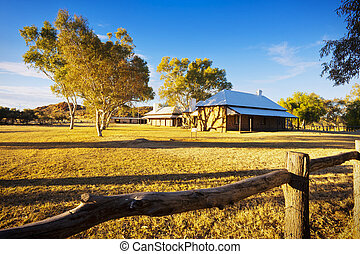 Alice Springs Telegraph Station - An evening view of the...