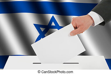 The Israeli flag and the hand with the bulletin about the...