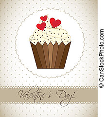 valentines day card wtih cup cake, vintage vector...