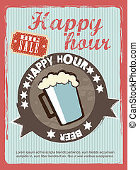 happy hour annoucement, vintage style. vector illustration