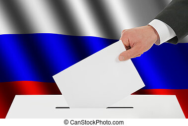 The Russian flag and the hand with the bulletin about the...