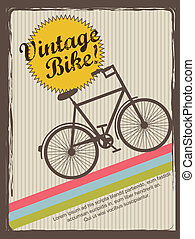 vintage bike annoucement, vintage style. vector illustration