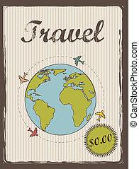 travel annoucement annoucement, vintage style. vector...