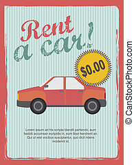 rent a car annoucement, vintage style. vector illustration