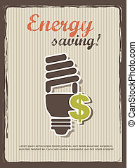 energy saving annoucement, vintage style. vector...