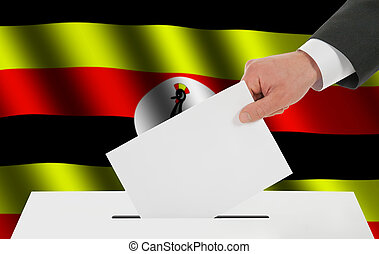 The Uganda flag and the hand with the bulletin about the...