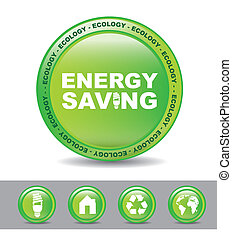 energy saving - green button energy button over white...