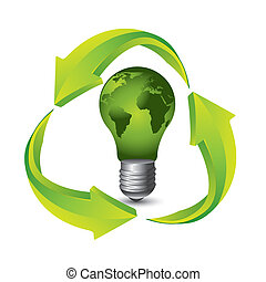 recycle sign - green electric bulb with recyle sign over...