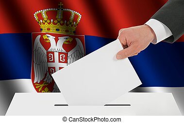 The Serbian flag and the hand with the bulletin about the...