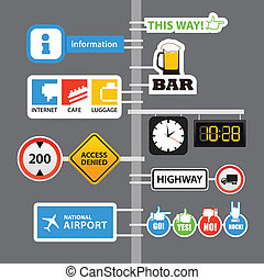 Different road signs on column