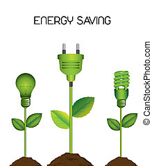 energy saving - green electric bulb with plug, energy...