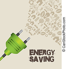 energy saving - green plug with icons, energy saving. vector...