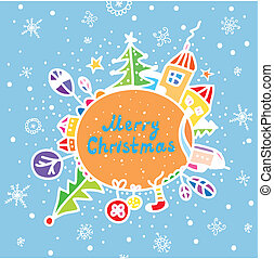 Merry christmas greeting card funny cartoon
