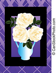 Cream rose in a blue vase