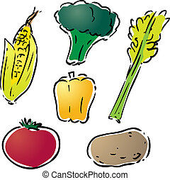 Vegetable illustration - Various vegetables illustration :...