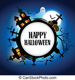 halloween vector design - vector halloween design with space...