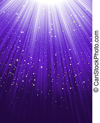 Stars falling purple luminous rays. EPS 8