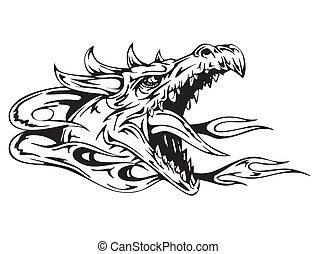 Dragon head Black and white vector illustration