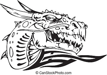 Dragon head. Black and white vector illustration.