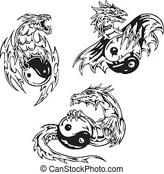 Dragon tattoos with yin-yang signs Set of vector...