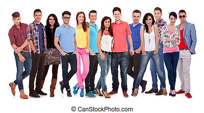group of casual happy people smiling and standing isolated...