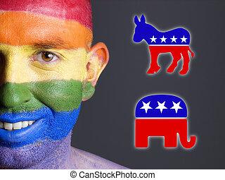 símbolos, alegre, demócrata, cara, bandera, sonriente, republicano, hombre