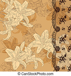 floral background with lace - floral background with lilies...