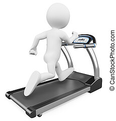 3D white people. Running on a treadmill - 3d white person...