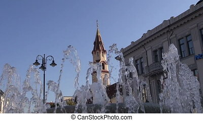 fountain and orthodox church