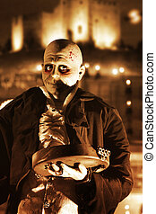 Halloween image of a ghoulish figure and a spooky night...