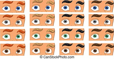 Color eyes look on the men face