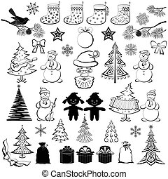 Christmas cartoon, set black silhouettes