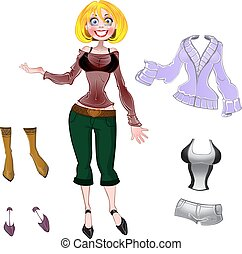 Girl with set of different clothes