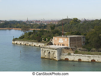 Arriving to Venetia. The photo shows a building in the...