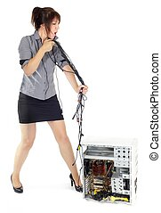 woman whipping computer