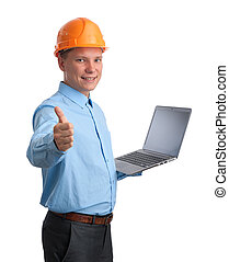 engineer with laptop computer isolated on white