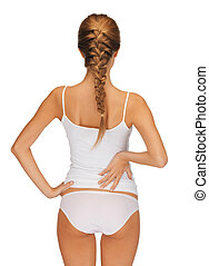 beautiful woman in cotton undrewear - rear view of beautiful...