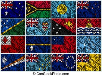 Silk Flags of Oceania - Flags of all Oceanian countries on a...