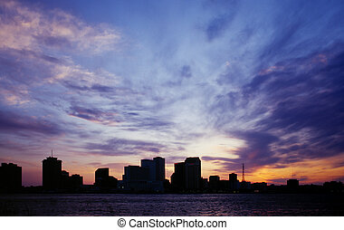 New Orleans Skyline - New Orleans city skyline silhouetted...