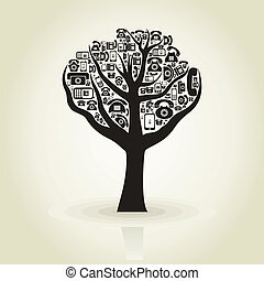 Tree phone - Tree with a crone from phones A vector...