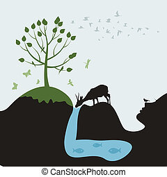 Pregnant woman - The pregnant woman in the nature A vector...
